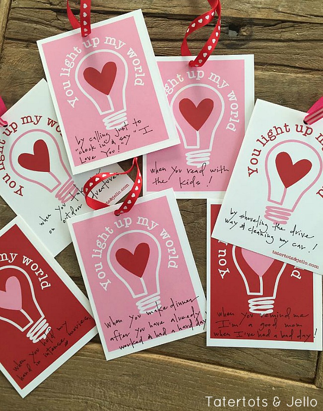 You Light Up My World free Valentines printables