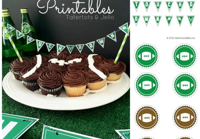 """""""Touchdown"""" Party Pennants & Toppers [Free Printables]!"""