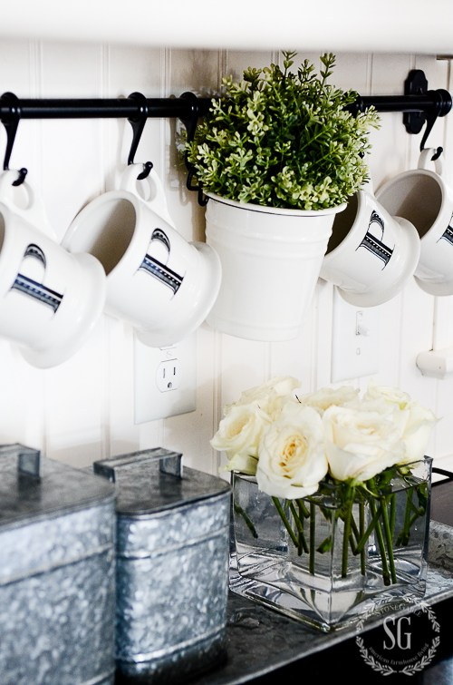 FUNCTIONAL AND FABULOUS KITCHEN RACK-with mugs-stonegableblog.co