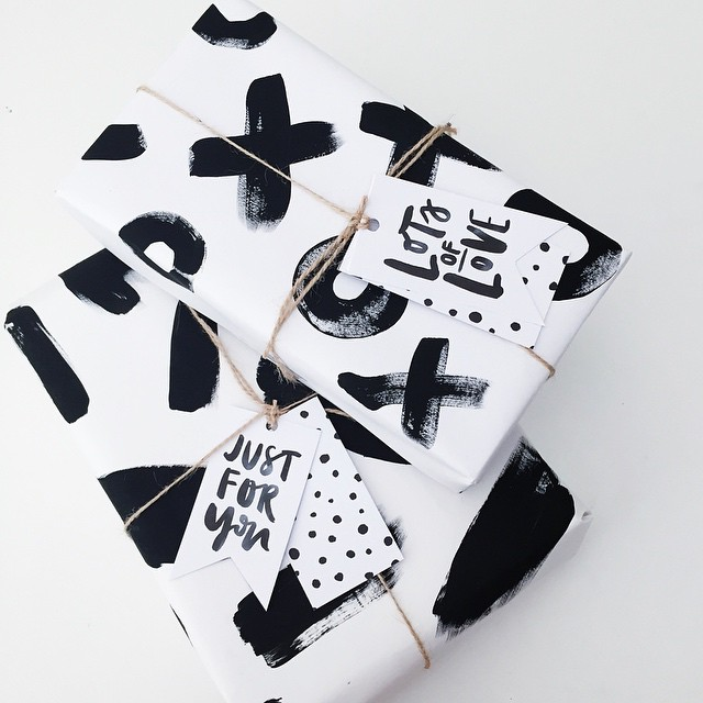 black and white wrapping paper