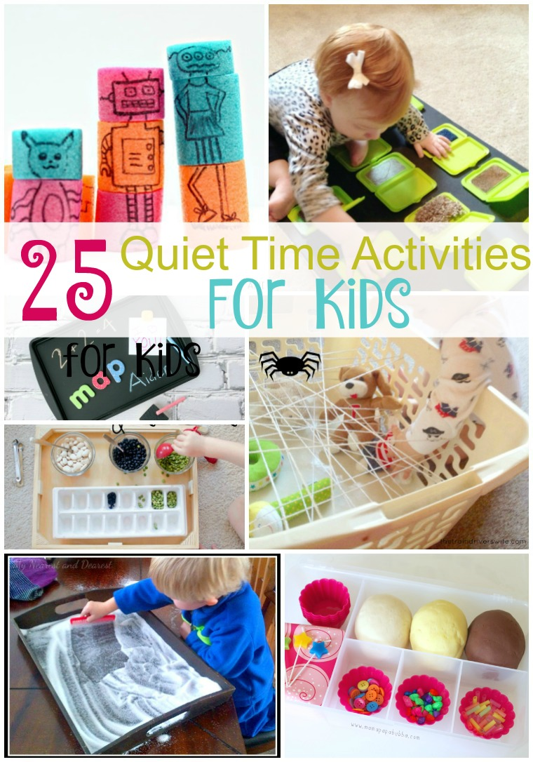 25 Quiet Time Activities. 25 Quiet Time Activities for Kids. Keep your kids entertained with these educational activities.