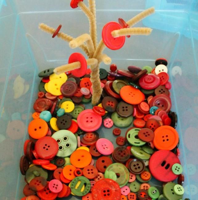 Button Tree Quiet Bin Toddler Idea