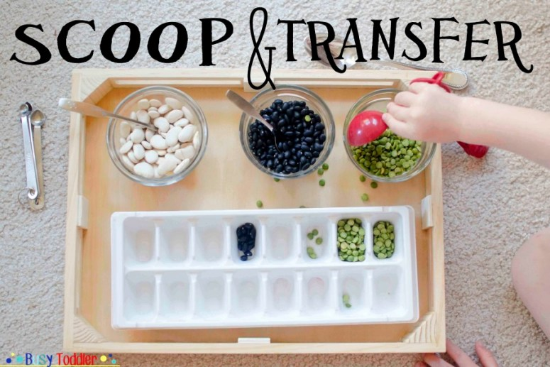 Scoop and transfer toddler quiet time activity