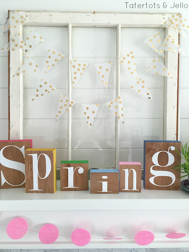 Spring Colorful Block Mantel