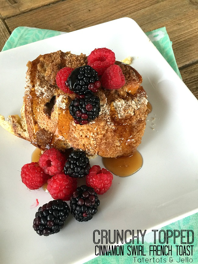 Cinnamon Swirl French Toast Casserole with a crunchy topping