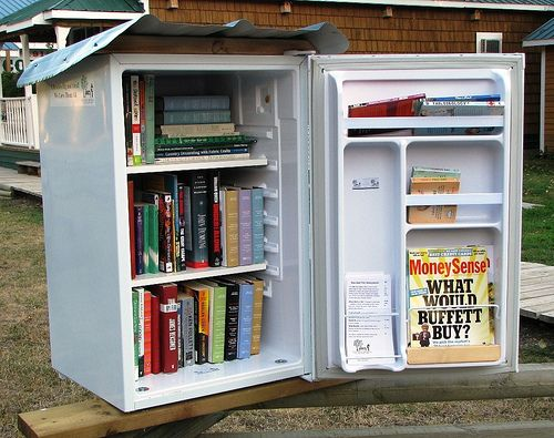 little free library out of an old fridge