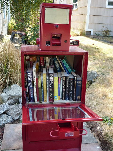 newspaper vending machine into a little free library