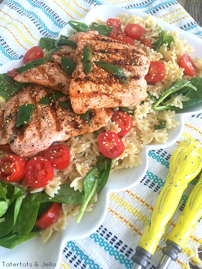 bowtie veggie pasta salad with grilled salmon