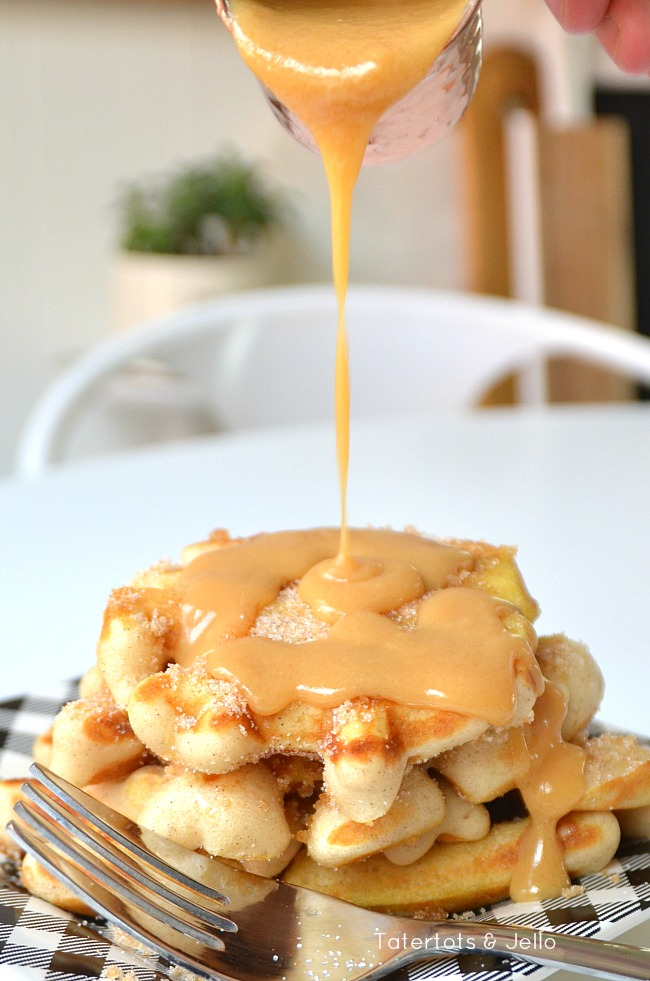 churro waffles with dulche de leche topping