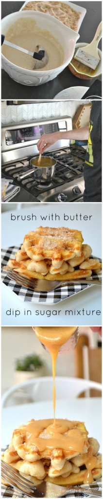make churro waffles with caramel topping
