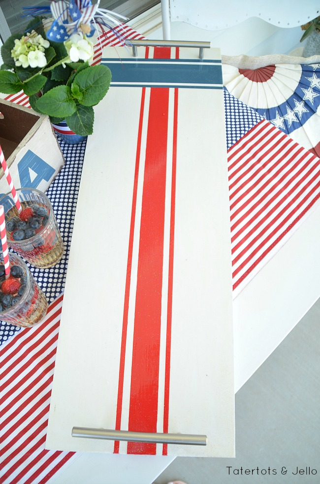 red white and blue wood tray