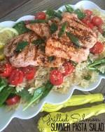 Grilled Salmon Veggie Pasta Salad