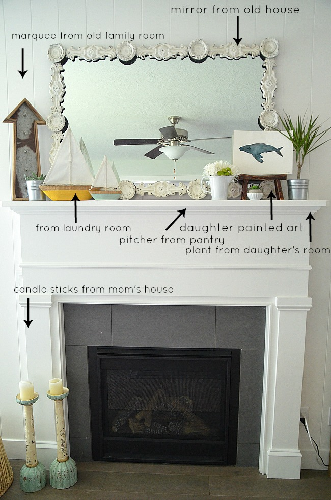 creating a summer mantelscape with items from your home