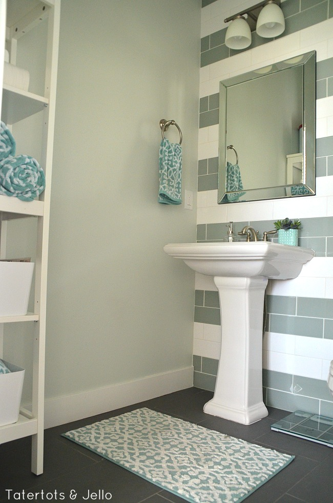 green and white bathroom tile
