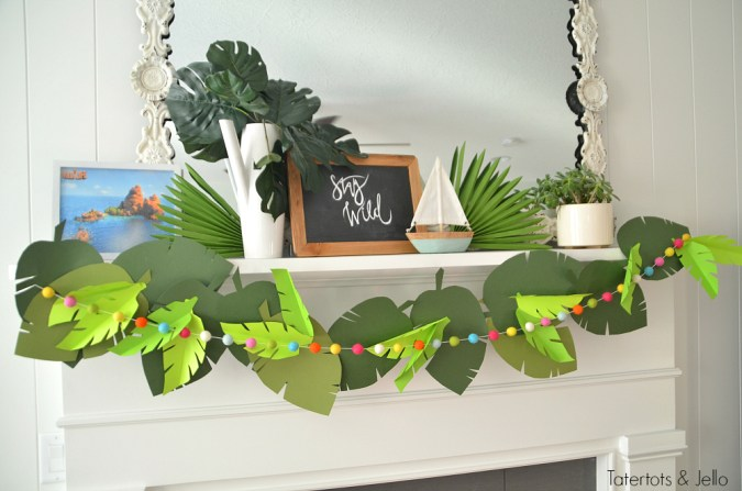 jungle paper party garland and free leaf templates