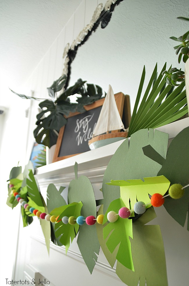 paper jungle party garland and free leaf templates