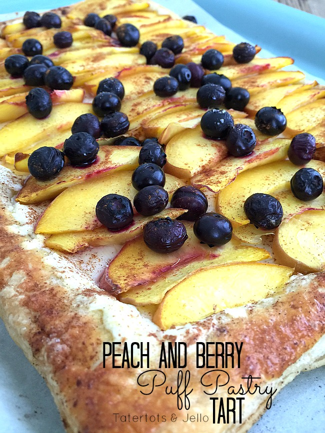 peach and berry puff pastry dessert