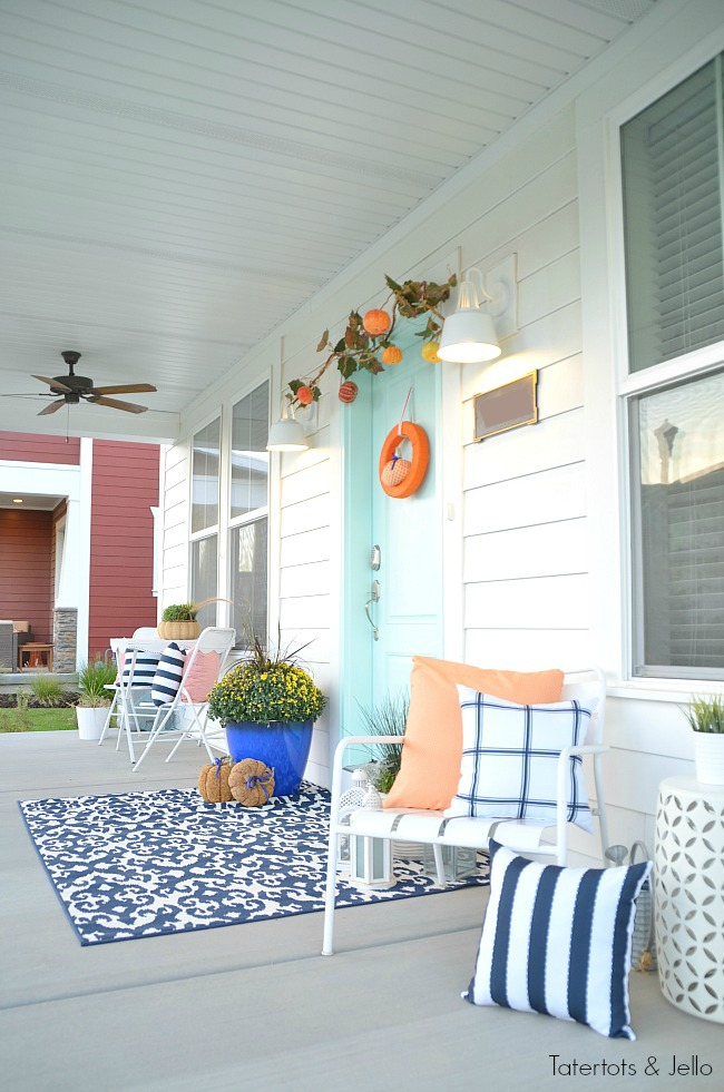colorful pillows for a pretty fall porch