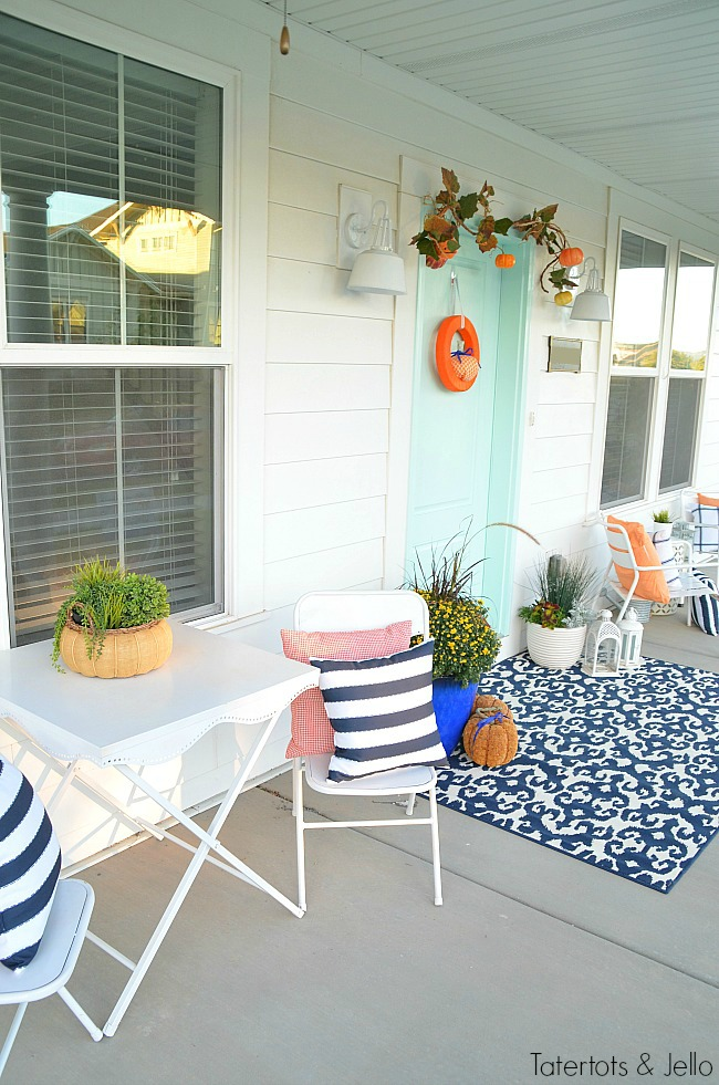 navy and orange fall porch