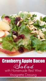 Cranberry Apple Bacon Salad with Homemade Red Wine Vinaigrette Dressing