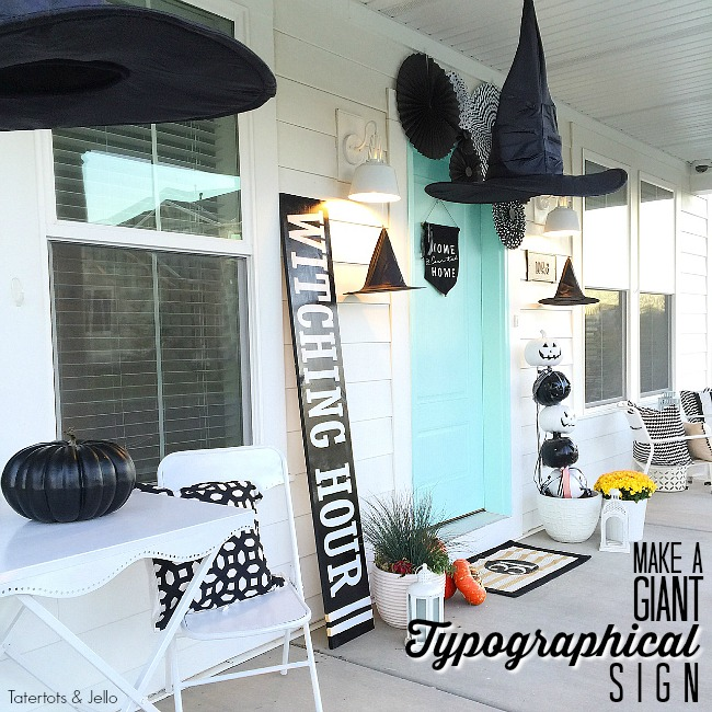 Make a giant halloween typographical sign. Use an inexpensive board and turn it into a halloween centerpiece for your home!