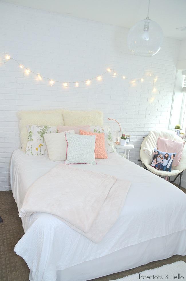 teen white brick wall bedroom