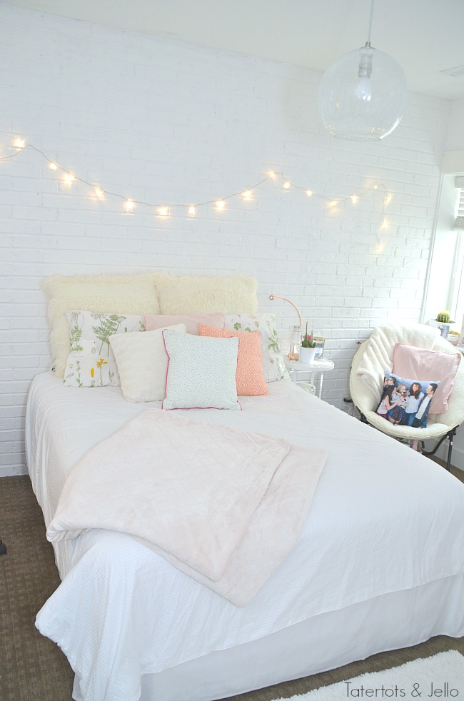 teen white brick wall bedroom