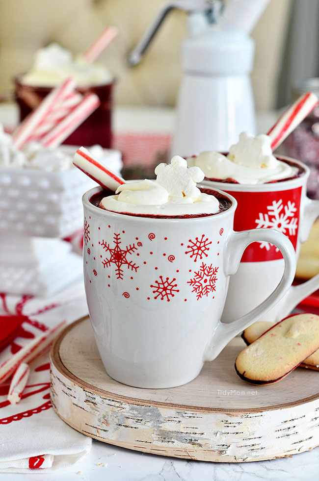 Red Velvet Hot Chocolate is so easy to make at home. find the recipe at TidyMom.net