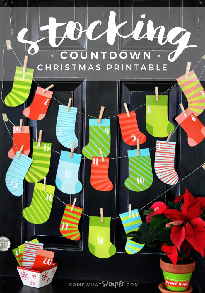 Stocking Christmas Countdown Printable