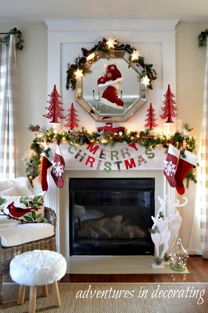 merry christmas plaid christmas mantel decorating ideas