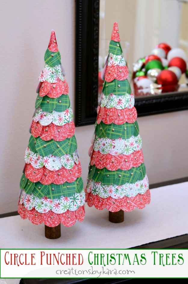 Circle Paper punched christmas trees