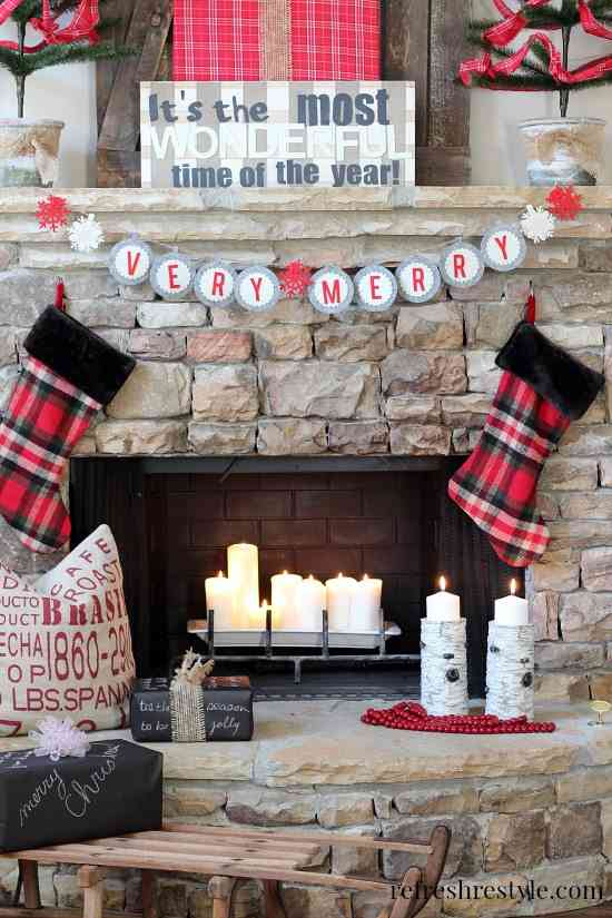 Gorgeous Holiday Mantels. Plus over 100 holiday ideas to create a cozy christmas!