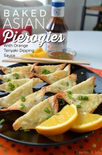 Baked Asian Pierogies with Orange Teriyaki Dipping Sauce