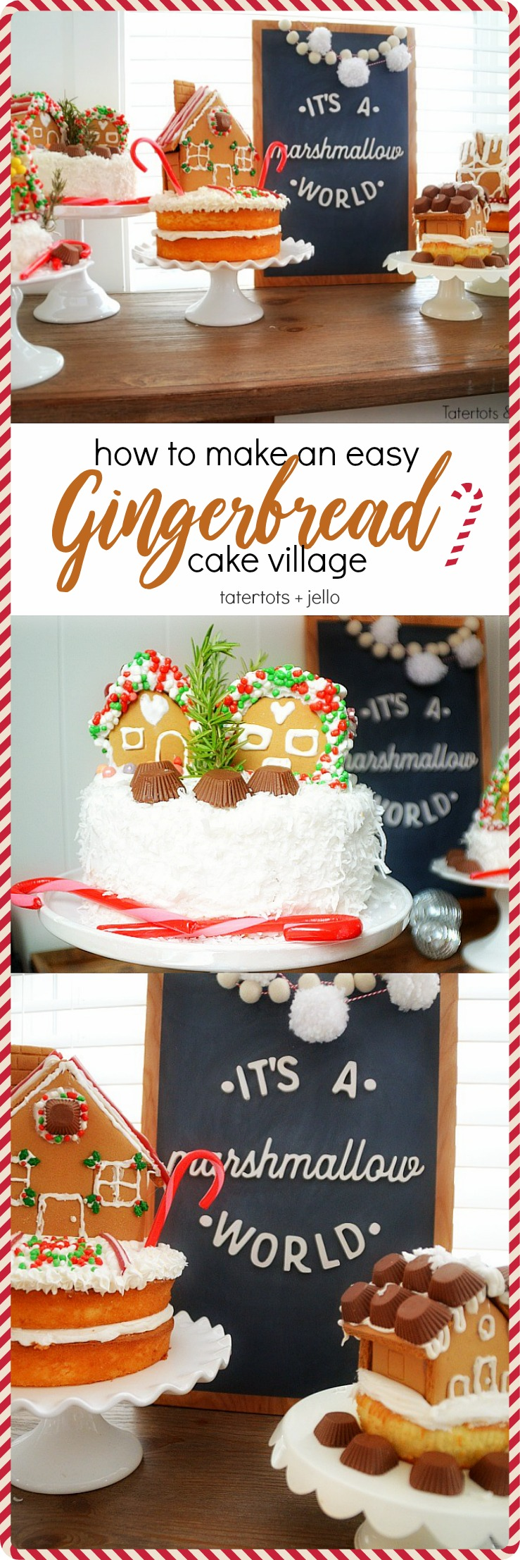 how to make an easy gingerbread cake village - kids love helping! Perfect for holiday parties.