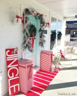 Red and White North Pole Christmas Porch