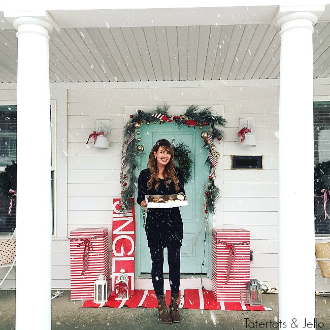Tatertots and Jello Christmas Home Tour. Simple ways to decorate for the holidays. Red and white North Pole theme.