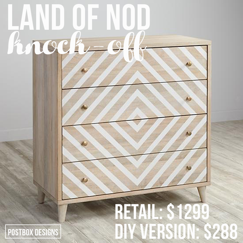 Land of NodInspired Dresser KnockOff Makeover