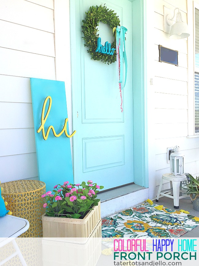 Colorful Happy Home Porch. Easy ways tp decorate your home for Spring.