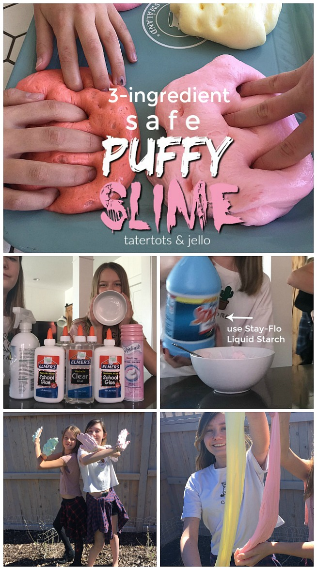 Make safe puffy slime. All it takes is THREE ingredients and it provides hours of entertainment for your kids. Here are the instructions and tips!