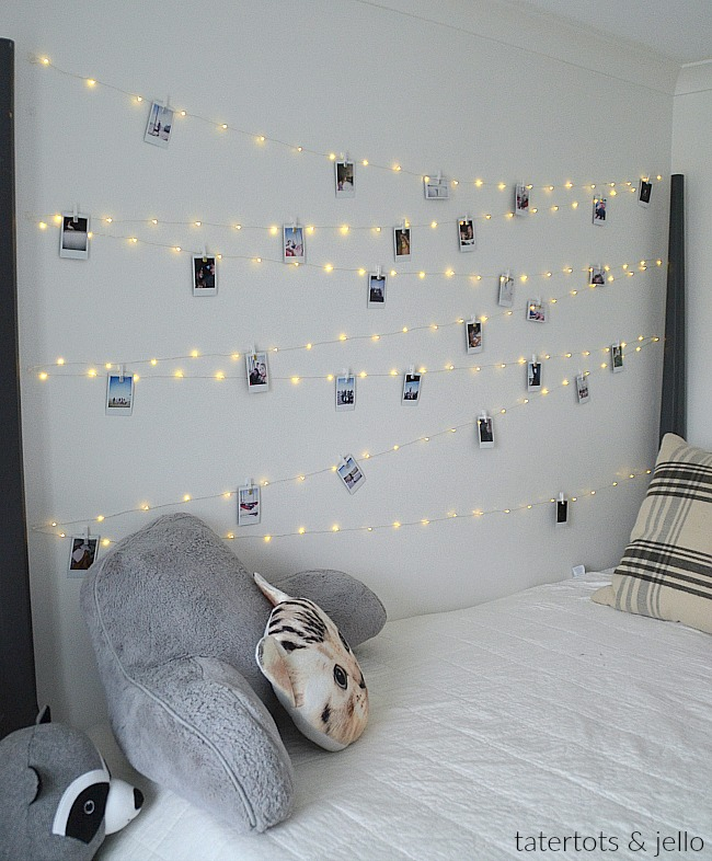 Tween Teen Fairy Light Photo Display Wall. Hang extra long fairy lights and photos for a beautiful bedroom display anyone will love!