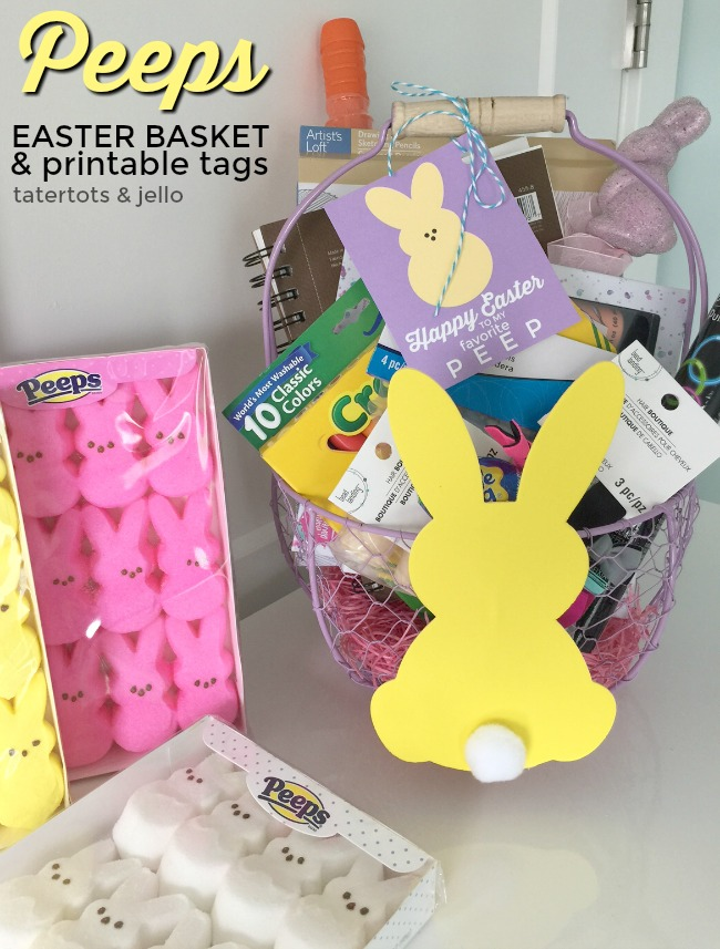 Peeps Kids Easter Basket Ideas. Some fun ideas to put in an Easter Basket for kids PLUS free PEEPS printable tags!