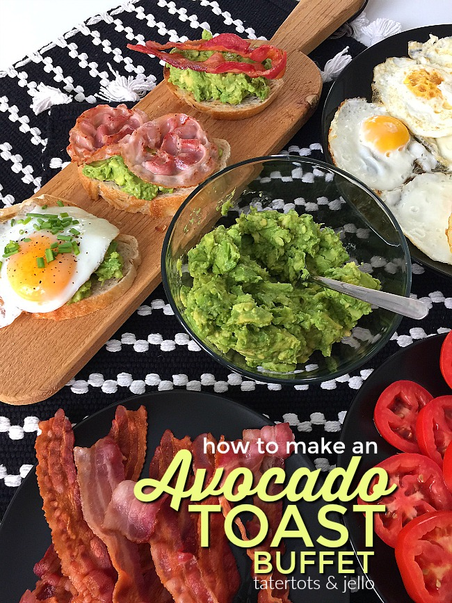 Avocado Toast Buffet. Avocado Toast is a healthy and delicious breakfast idea. There all of the different toppings you can add, see what your guests create!