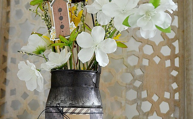 Styling Shelves – Milk Pail Floral Arrangement DIY