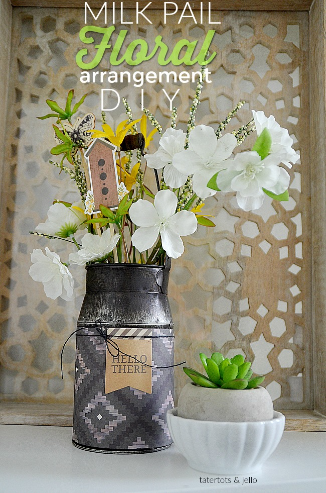 Milk pail floral arrangement diy. Make this milk pail for your home or as a gift.