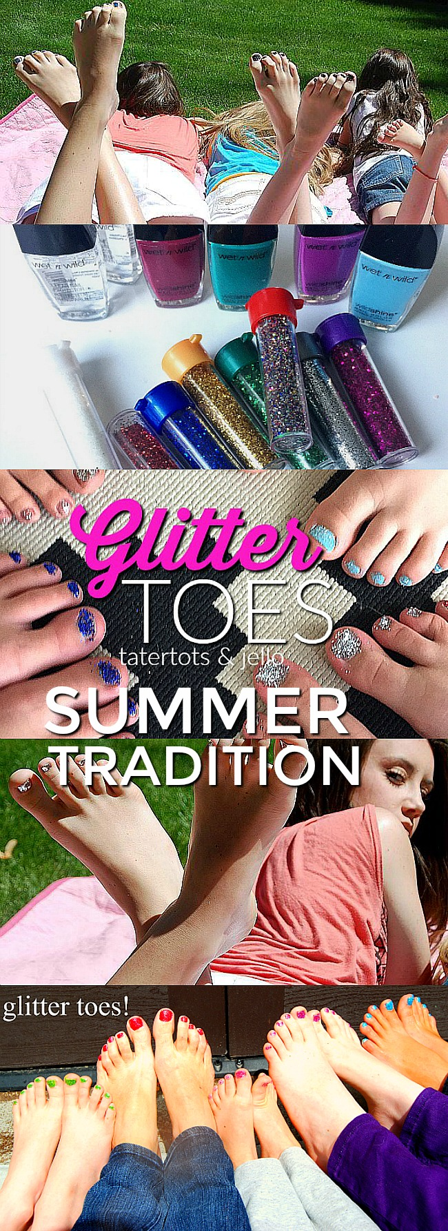 Glitter Toes Tutorial. Last Day of School Tradition - make glitter toes for summer! Your kids will love it!