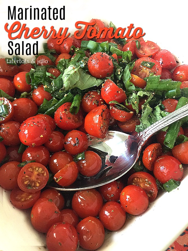 Easy Marinated Tomato Salad. The perfect easy salad to take to a summer BBQ or party, it tastes even better a couple of days later!