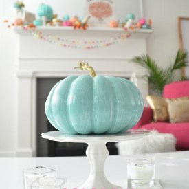 Colorful Fall Mantel with Painted Dollar Tree Pumpkins