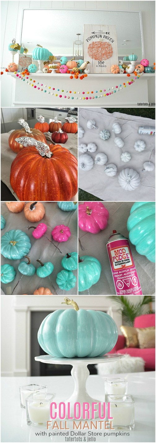 how to paint dollar tree foam pumpkins colorful colors