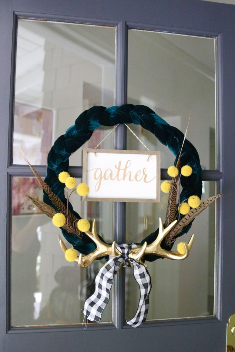 Glam Farmhouse Fall Wreath. Make a GLAM velvet and gold farmhouse fall wreath and welcome guests into your home in style this Autumn!