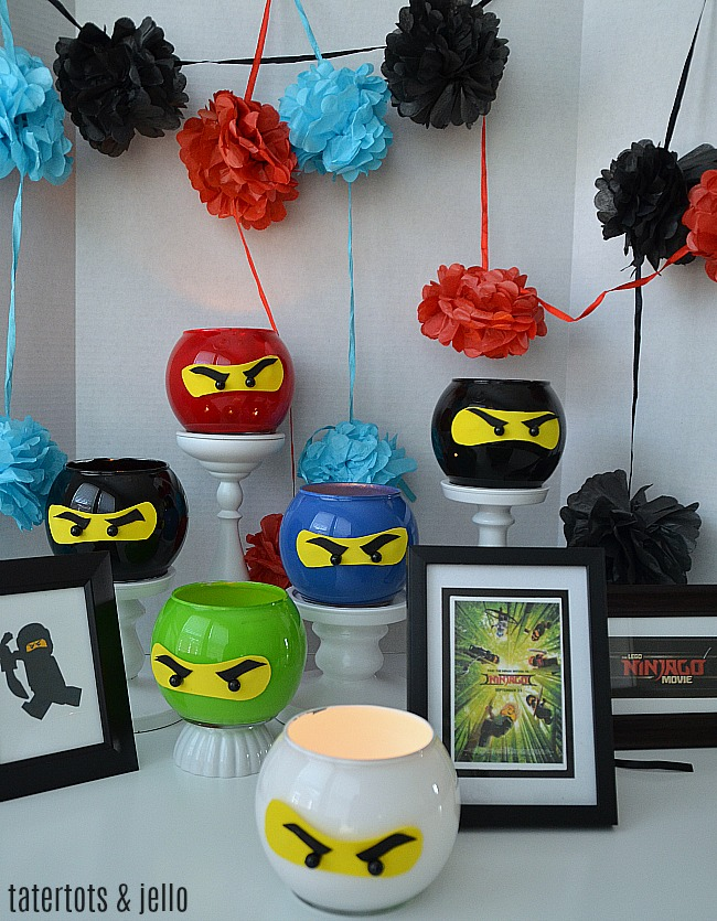 Ninja Ninjago party lanterns are the perfect craft for a ninja party. Have kids make one in their favorite NINJA color. They can take it home and use it as a nightlight.